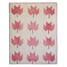 19th C Maple Leaf Doll Quilt From Pennsylvania | From a unique collection of antique and modern textiles and quilts at https://www.1stdibs.com/furniture/more-furniture-collectibles/textiles-quilts/