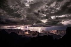 The Grand Canyon, Arizona- Even the deserts of Arizona sometimes have stormy weather that can humble even the majestic beauty of the canyon. --lightning
