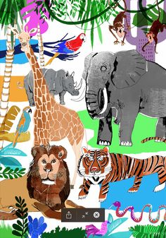 children illustration jungle wild animals