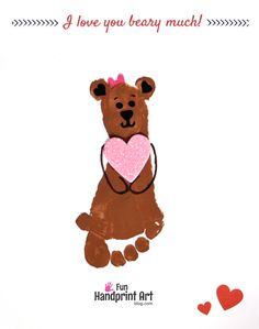 Use our free I Love You Bear-y Much Printable Card to make a footprint bear craft. Perfect for Valentine's Day, Mother's Day Father's Day, & more