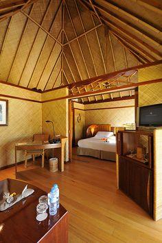 InterContinental Bora Bora  Le Moana Resort bungalow lounge and bedroom