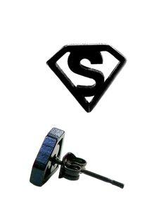 Superman Black Stud Earrings