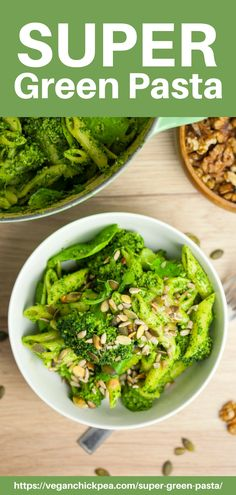 This super green pasta is a delicious vegan rendition of the classic home-cooked pasta recipe made with a mish-mash of different leafy vegetables.