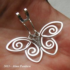 CHARMING BUTTERFLY PENDANT Handmade Jewelry Wire by AlinasStudio