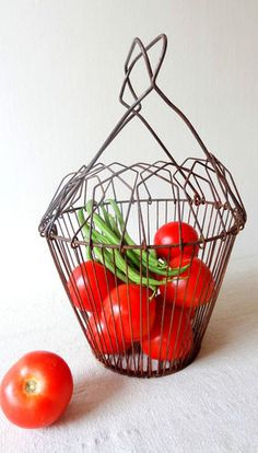 Egg Basket Wire Old Vintage French Kitchenware | eBay