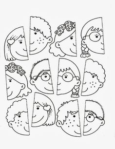 Use this for my younger students in the style of the puzzle piece group project.kinder, blank faces have students draw themselves and color or paint with watercolor? Preschool Learning, Kindergarten Worksheets, Worksheets For Kids, Preschool Activities, Teaching, Preschool Body Theme, Kids Education, Toddler Activities, Kids And Parenting