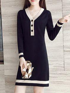 V-Neck Decorative Hardware Color Block Shift Dress Fashion Online, Fashion News, Fashion Outfits, Womens Fashion, T Shirt Branca, Knitwear Fashion, Womens Knitwear, Pakistani Dresses Casual, Discount Dresses
