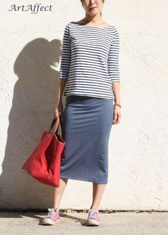 Midi Pencil Skirt with Back Pockets -Stretch Denim Jersey. $69.50, via Etsy.