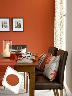 This caramelized shade—as warm as red but less expected—is a great update for a traditional dining set but works equally well with more modern, clean-lined pieces. For a similar look, try Behr Summer Heat. | Photo: Mark Scott/Ideal Home/IPC+ Syndication | thisoldhouse.com