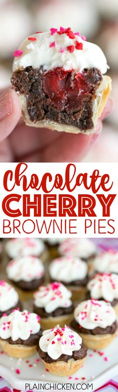 Chocolate Cherry Brownie Pies - mini pies filled with brownie batter and cherries topped with a homemade cream cheese white chocolate frosting. OMG! SO good! Great for parties! Can make ahead of time  (Homemade Chocolate Frosting)