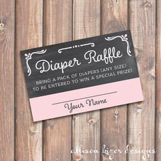 Chalkboard Pink and Gray Baby Shower Diaper Raffle Tickets - INSTANT DOWNLOAD on Etsy, $5.00
