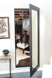 Mirror closet door fits in place of a standard door. Turn your closet in to a hidden space for jewelry and valuables. Beautiful wood crafting.