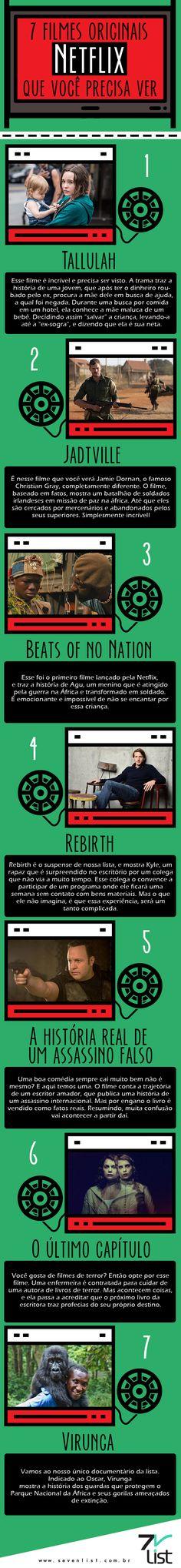 Que a gente ama as séries originais Netflix já é fato, mas e os filmes? Tem alguns tão bons que também precisam ser vistos. Hoje o Seven List trouxe 7 filmes originais Netflix que você precisa ver. #SevenList #Infográfico #Design #Movie #Film #Cine #Cinema #Netflix