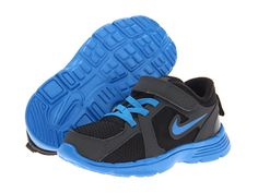 Nike Kids Fusion Run (Infant Toddler) Black Anthracite Dark Electric Blue 9690415271ea