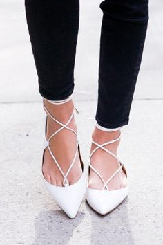 The season's hottest footwear trend is the lace-up, pointed-toe flat like these on Arielle of Something Navy. #Shoes #SummerStyle