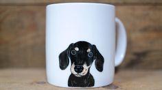 Hand painted animal mug  - Cute mug cup - dog mug cup - dog mug - Dachshund dog by CreativeStoneCera on Etsy