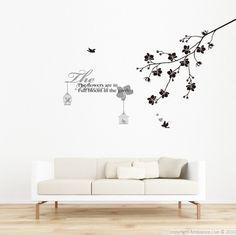 Sticker Sticker texte flowers avec branche et oiseaux AMB-0074 : Stickers muraux & stickers déco pour la décoration | Ambiance-live