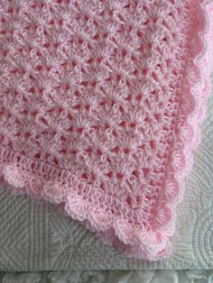 "Soft and Cozy Baby Afghan in ""Baby Pink"", Pink Crochet Baby Afghan, Crochet Baby Blanket, Valentine Gift for Baby"