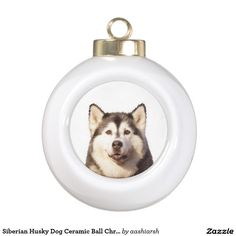 Siberian #Husky #Dog Ceramic Ball #Christmas #Ornament #christmasdecoration