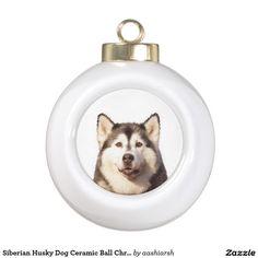 Siberian #Husky #Dog Ceramic Ball #Christmas #Ornament #christmasdecoration