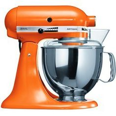 KitchenAid Artisan Stand Mixer in Tangerine.  This colour just makes me want to eat the damn thing let alone what I make with it