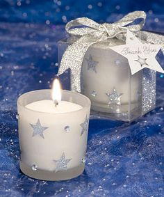 White Frosted Glass Holder with Sparkling Silver Stars