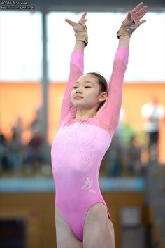 Asian Girl in pink one piece outfit Gymnastics Training, Sport Gymnastics, Artistic Gymnastics, Olympic Gymnastics, Gymnastics Leotards, Gymnastics Posters, Gymnastics Photography, Gymnastics Pictures, Cute Little Girl Dresses