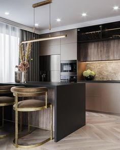Kitchen design by . New Kitchen Interior, Loft Interior, Modern Kitchen Interiors, Kitchen Room Design, Home Room Design, Modern Kitchen Cabinets, Contemporary Kitchen Design, Home Decor Kitchen, Home Kitchens