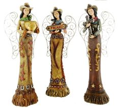 ''Cowgirl Angels'' Western Statues (Set of 3)