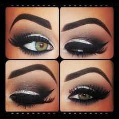 silver and black eye shadow with intense black eyeliner