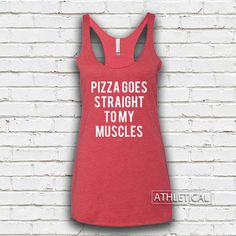 Women's Pizza Goes Straight To My Muscles Tri-Blend Racerback Tank Top - Women's Pizza Tank, Women's Fitness Tank, Women's Workout Tank