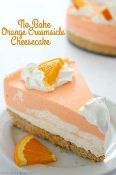 No Bake Orange Creamsicle Cheesecake You will find a delicious Nilla Cookie crust with layers of orange creamy cheesecake filling. Perfect for summer picnics and BBQ's. No Bake Orange Creamsicle Cheesecake I love making no bake cheesecakes. No Bake Desserts, Easy Desserts, Delicious Desserts, Dessert Recipes, Yummy Food, Picnic Recipes, Cheesecake Desserts, Picnic Ideas, Picnic Foods