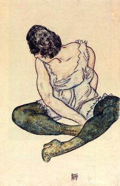 Seated Woman with Green Stockings by @engonschiele #expressionism