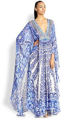 Camilla Silk Chiffon Long Sleeve Caftan - ShopStyle Cover-ups Hijab Fashion, Boho Fashion, Punk Fashion, Lolita Fashion, Fashion Dresses, Mode Wax, Beach Wear, Silk Chiffon, Dream Dress