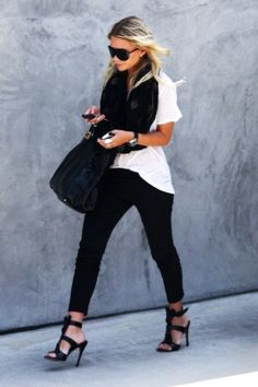 Black skinnies, a white boyfriend tee and black scarf...easy & chic. Those shoes are KILLER!