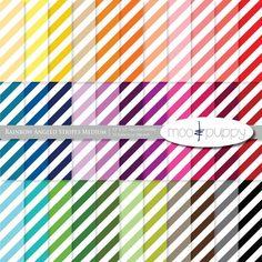 Striped Digital Scrapbook Paper Pack  --  Rainbow Angled Stripes Medium -- INSTANT DOWNLOAD