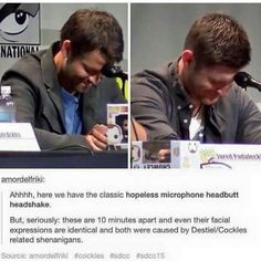 I only ship Destiel, I think Cockles is a bit disrespectful to them and their families. They've both got beautiful wives and children. Destiel is okay, but Cockles is kinda pushing it. Although I can't deny that they would be a really cute couple. Jensen Ackles, Jensen And Misha, Misha Collins, Dean Winchester, Jared Padalecki, Decimo Doctor, Spn Memes, Supernatural Destiel, Supernatural Wallpaper