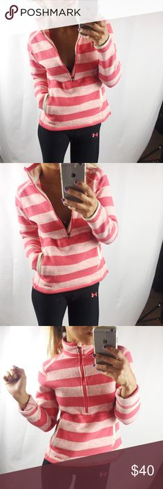 Pink striped Patagonia Better Sweater Good condition😀 embroidered logo on bottom hem. Patagonia Sweaters