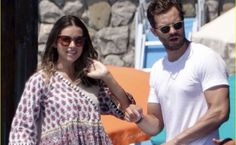 Jamie & Millie on holiday in Nerano, Italy. Jaime Dornan, August 8, A Good Man, Amelia, Candid, Really Cool Stuff, Dj, Actors, Guys