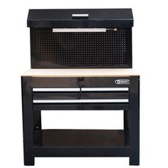 "Kobalt 45"" W x 36"" H x 24"" D 3-Drawer Work Bench -  Heavy-duty steel w/ rich powder-coated finish & MDF wood work surface  • 3-receptacle power strip & 2 USB ports on side of bench provide a convenient place to plug in tools  • Integrated pegboard with storage tray • Fluorescent light bar illuminates your work surface for better visibility  • Features accessory hooks perfect for hanging tools or towels  • Work surface dimensions: (1,080-sq in)  $149.99 was $199.99  $40 for assembly  see…"
