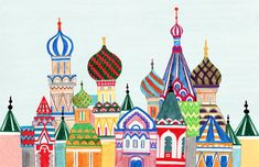 Colorful Illustration Art Print for Home or Nursery Russian Architecture Cathedral Red Square Buildings Middle East Arabian Palaces Architecture Russe, Russian Architecture, Art And Illustration, Needlepoint Designs, Needlepoint Canvases, Framed Prints, Art Prints, Russian Art, Art Lessons