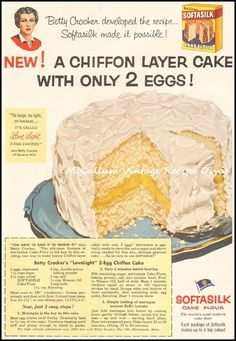 LOVELIGHT CHOCOLATE CHIFFON CAKE 2 eggs, separated 1 cups sugar, divided use 1 cups cake flour, sifted tsp baking soda 1 tsp salt cup vegetable oil 1 cup buttermilk, divided 2 oz un… Retro Recipes, Old Recipes, Vintage Recipes, Cake Recipes, Cooking Recipes, Cupcakes, Cupcake Cakes, Chocolate Chiffon Cake, Chocolate Cake