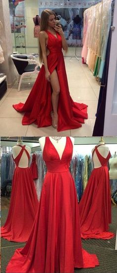A-line Sexy Slit V-neckline Red Prom Dress PDT021