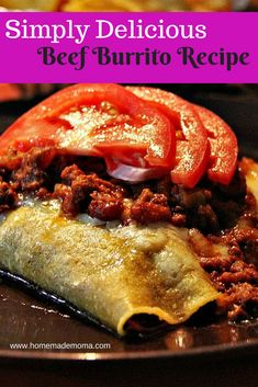 Delicious ground beef burrito smothered in cheese with light sauce for a super simple and easy dinner. You have to try this #delicious