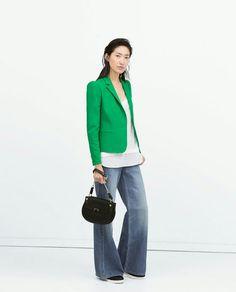 I like the longer shirt under a blazer and the wide leg pants