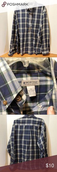 🤪Windridge Men's LS Navy Plaid Dress Shirt Sz XL Windridge Men's Size XL LS Dress Shirt Poly/cotton blend, wrinkle free fabric, button front with front breast pocket. Navy, grey, hunter green plaid. Excellent, like new condition. I can't remember it ever being worn. windridge Shirts Casual Button Down Shirts