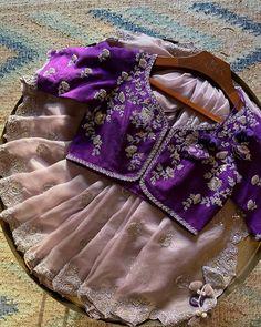 Kids Blouse Designs, Kurta Designs Women, Bridal Blouse Designs, Half Saree Designs, Saree Blouse Neck Designs, Designer Sarees Wedding, Wedding Sarees, Wedding Saree Collection, Bollywood