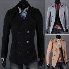 Black and beige double breasted coat