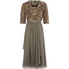 Taupe Lace Dress & Bolero Set