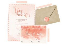 free printable - watercolor invitation + save the date + envelope sticker in peach and mint